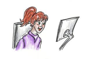 girl using eye gaze