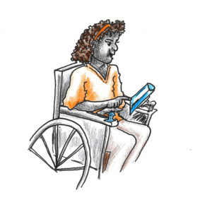 girl with a wheelchair mounted aid